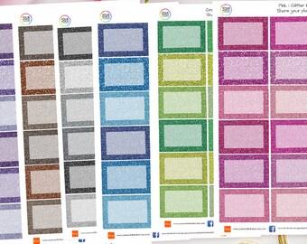 Glitter Half Box Planner Stickers for Erin Condren, Kikki K, Filofax, Happy Planner, Travelers Notebook, Filofax, Bujo, journal, organiser