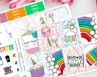 Rainbow Party Happy Planner Weekly Kit, Planner Stickers, Mambi, Sticker Kit, Rainbow, Bright, Summer, Dream, Clouds, Colours, Birthday