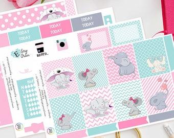 Little Ellie Weekly Planner Sticker Kit for Erin Condren Vertical Life Planner, Happy Planner, Filofax, TN, Elephant, Cute, Pink, sweet