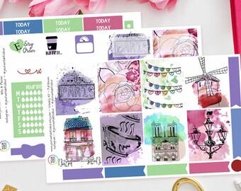 Paris Dreams Planner Stickers Kit, Erin Condren Weekly Kit (2/3 Page), Life Planner, Kikki K, Filofax, TN, French, France, Watercolour