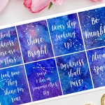 Galaxy Full Box Quote Planner Stickers for Erin Condren Life Planner, Happy Planner, TN, Bujo, Journal, Stars, Star sign, Astrology, Space
