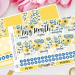 Summer Floral Monthly Planner Sticker Kit for Erin Condren Planners, Any Month, Sunday or Monday Start ECLP, Monthly View, Month, Floral