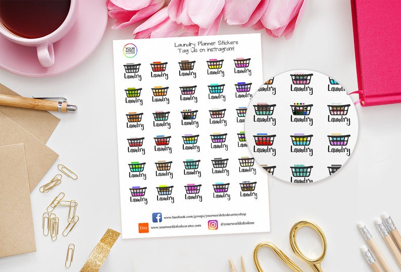 Laundry Washing Basket Planner Stickers  perfect for Erin image 0