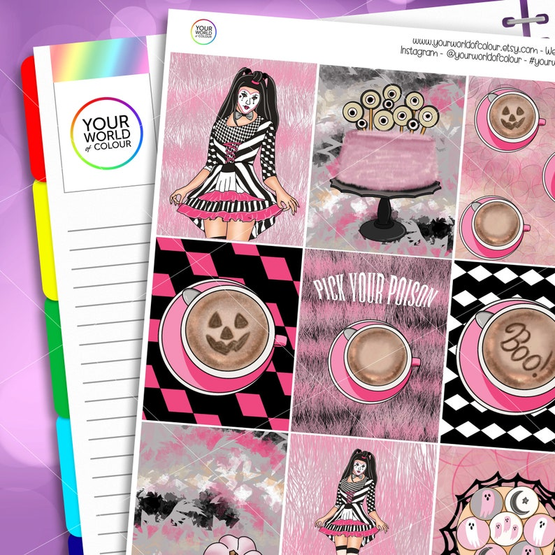 Pick Your Poison Planner Sticker Kit for use with Erin Condren image 0