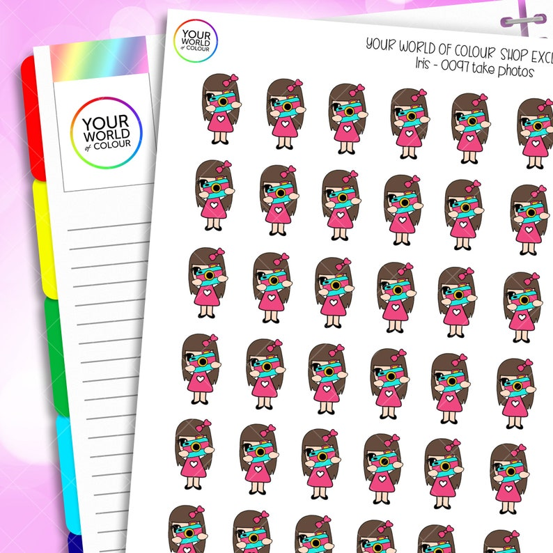 Take Photos Planner Stickers for Erin Condren Life Planner image 0