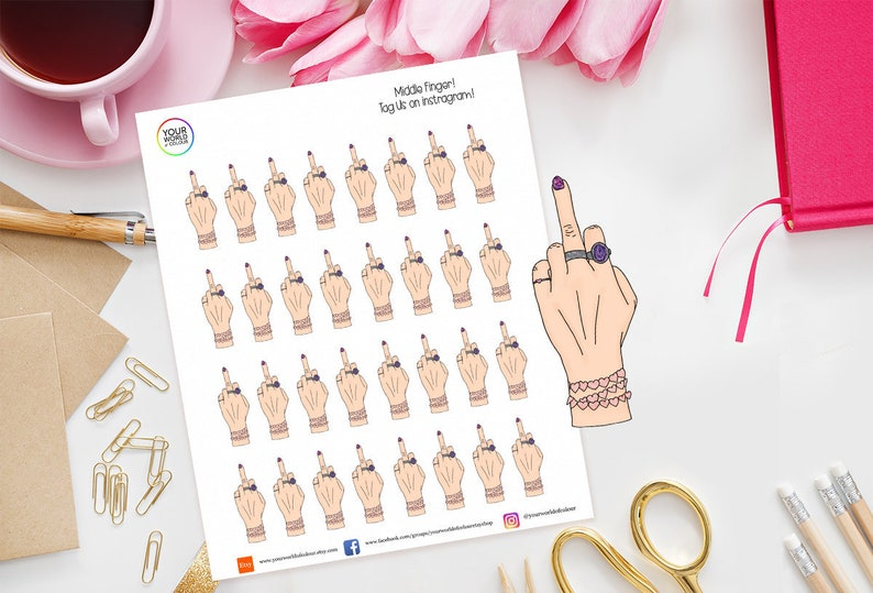 Middle Finger Planner Stickers For Erin Condren Kikki K image 0