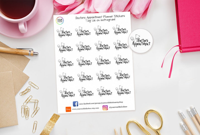 Doctors Appointment Planner Stickers for Erin Condren Life image 0