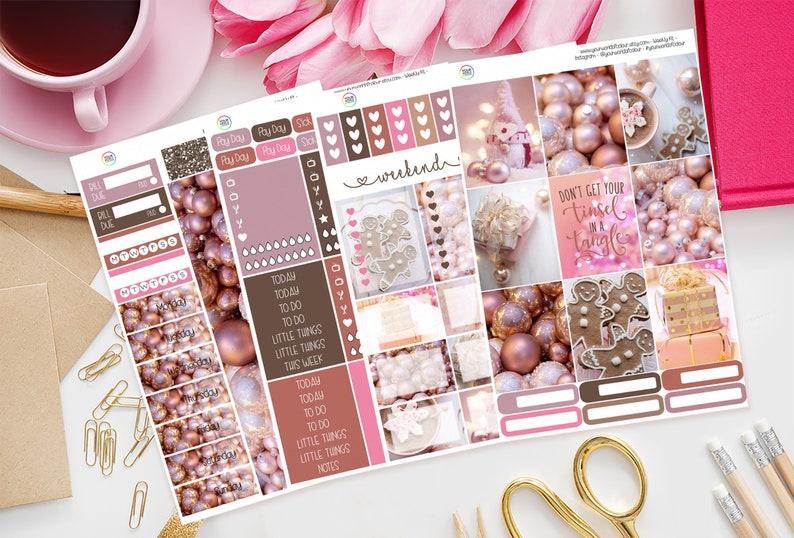 Christmas Pink Planner Sticker Kit for use with Erin Condren 4 Sheet Full Kit
