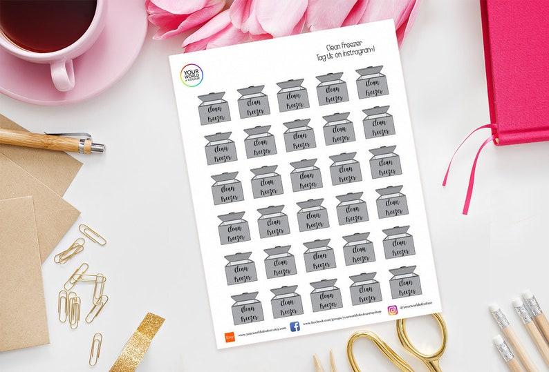 Clean Freezer Planner Stickers for Erin Condren Kikki K image 0