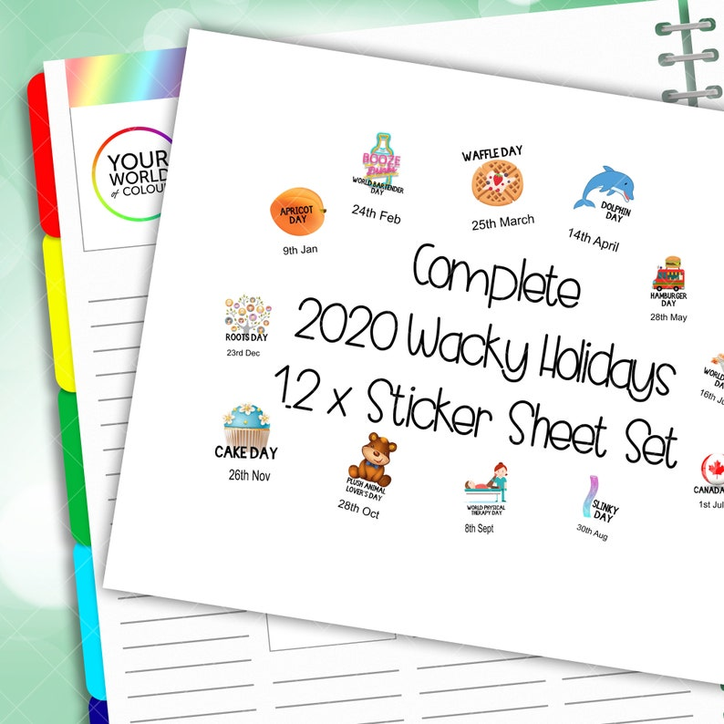 2020 Complete Bundle Set Of Wacky Holidays Planner Stickers image 0