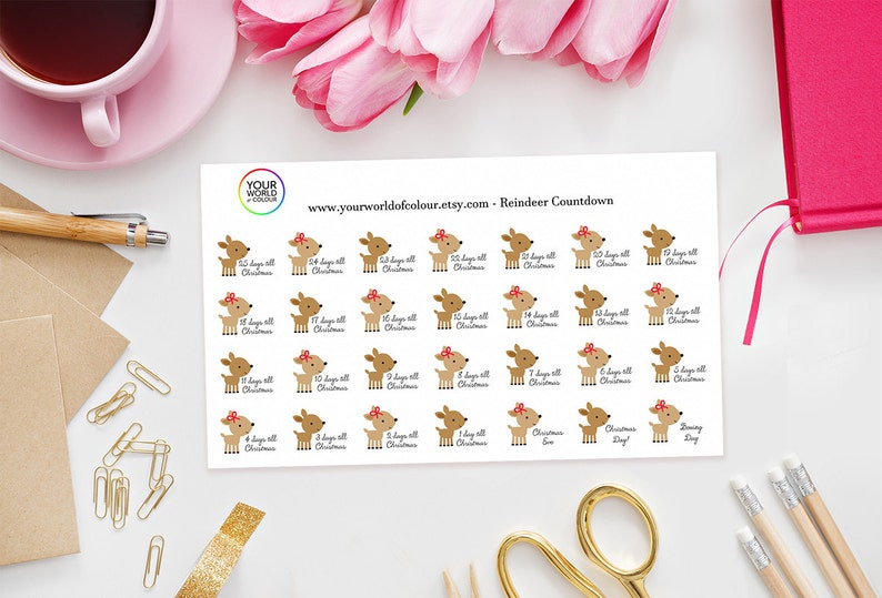 Christmas Reindeer Countdown Stickers perfect for Erin Condren image 0
