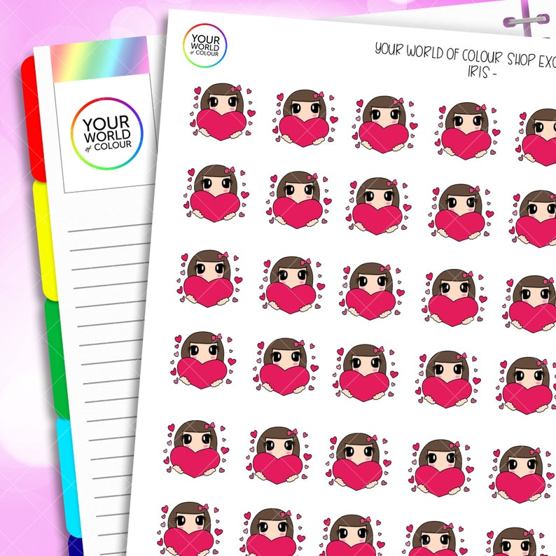 Iris Love Hearts Planner Stickers Hand Drawn Characters for image 0