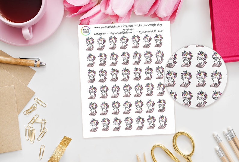 Weigh Day Unicorn Planner Stickers  perfect for Erin Condren image 0