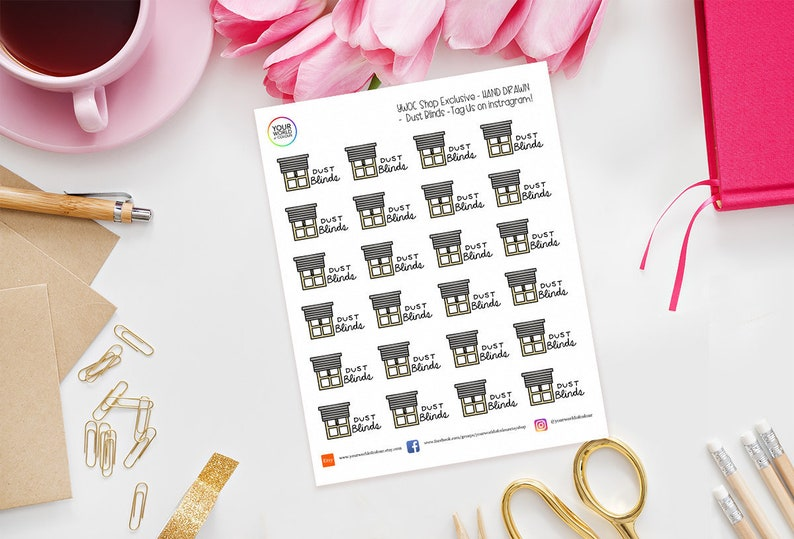 Dust Blinds Planner Stickers for use with Erin Condren Life image 0