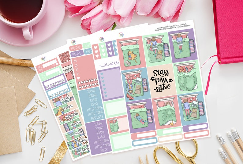 Me and My Cat Planner Sticker Kit for use with Erin Condren image 0