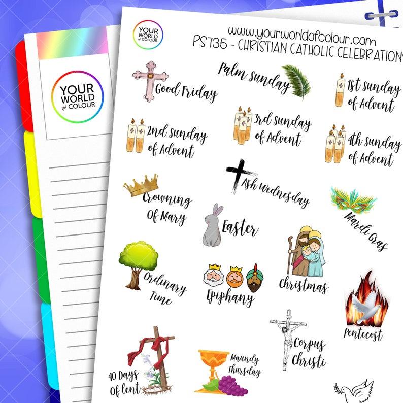Christian and Catholic Holiday Celebration Planner Stickers image 0