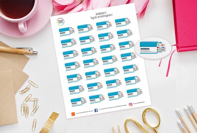 Antibiotic Planner Stickers for Erin Condren Kikki K Happy image 0