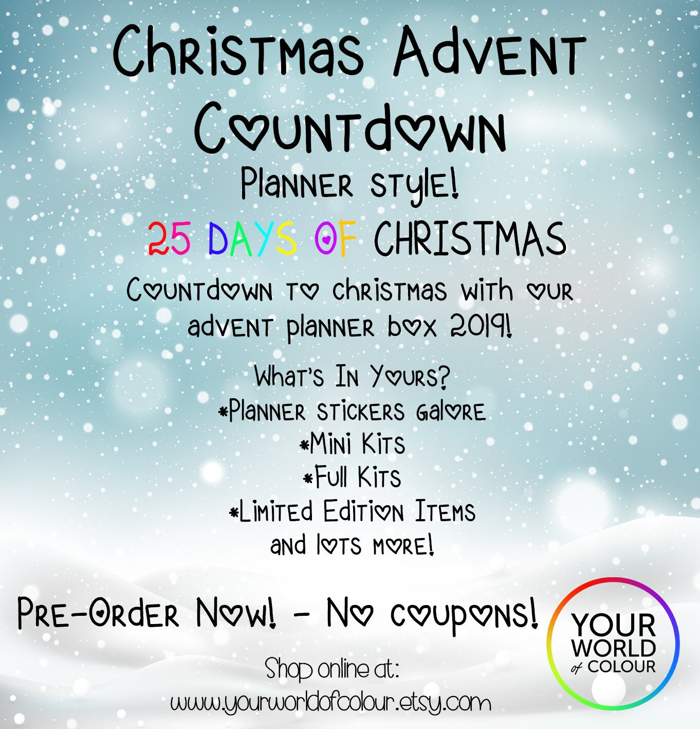 Countdown To 25 Days Of Christmas 2019.Ywoc 25 Days Of Christmas Advent Calendar Box Planner Stickers Mini Kits Full Kits Limited Ed Xmas Countdown No Coupons