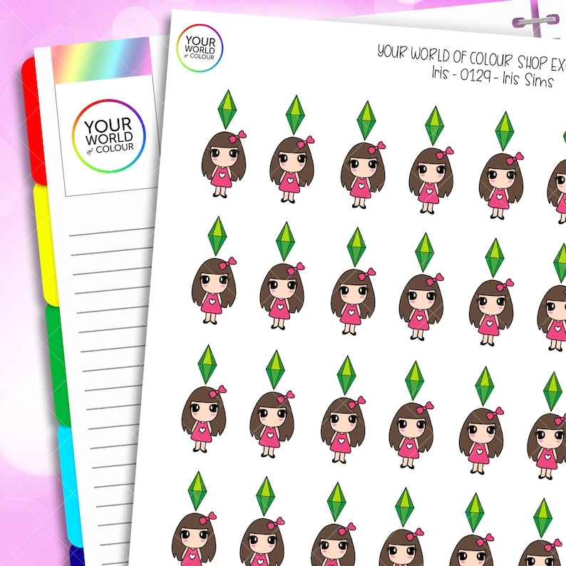 Sims Character Planner Stickers for use with Erin Condren image 0