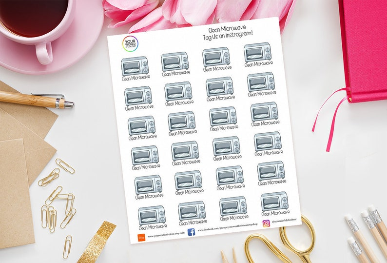 Clean Microwave Planner Stickers for use with Erin Condren image 0