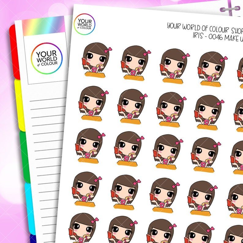 Iris Make Up Planner Stickers Hand Drawn Characters for use image 0