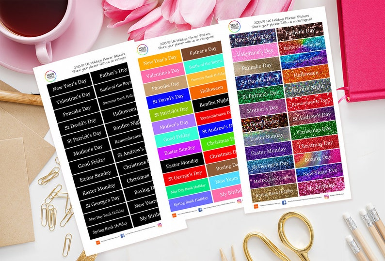 UK Holiday Date Planner Stickers For Erin Condren Filofax image 0