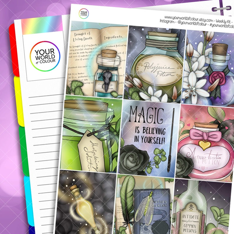 Potions Class Planner Sticker Kit for use with Erin Condren image 0