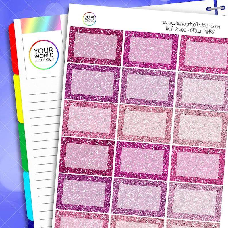 Glitter Half Box Planner Stickers for Erin Condren Kikki K image 0