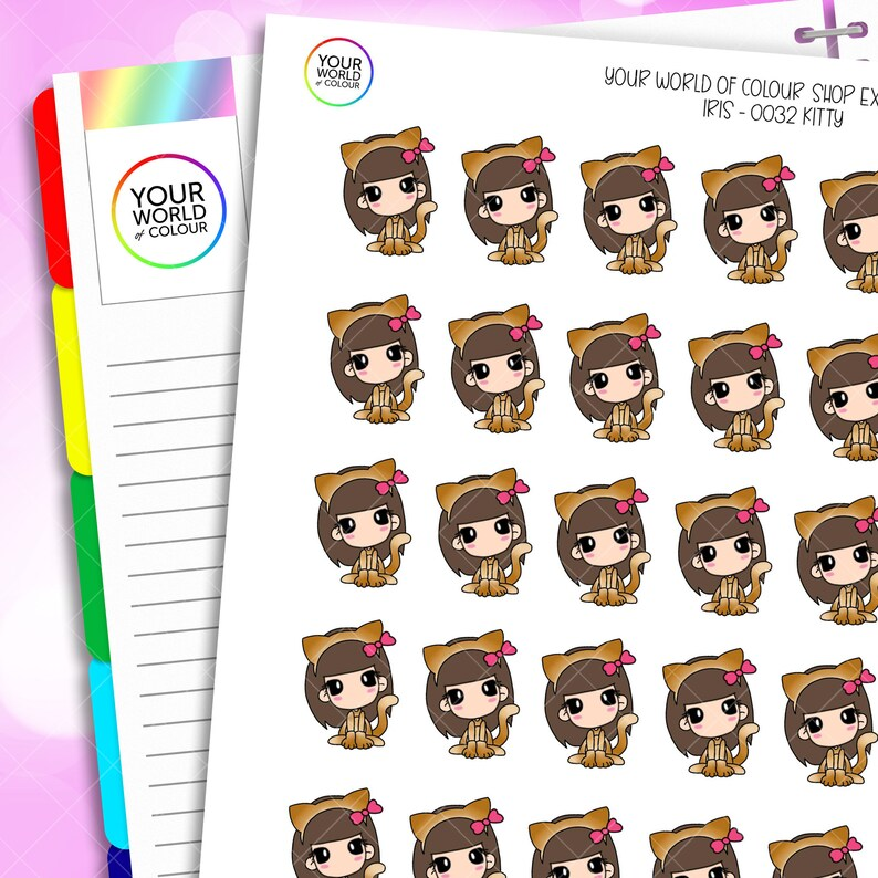 Iris Kitty Planner Stickers Hand Drawn Characters for use with image 0