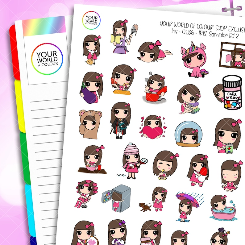 Iris Character Planner Stickers Sampler ED.2 for use with Erin image 0