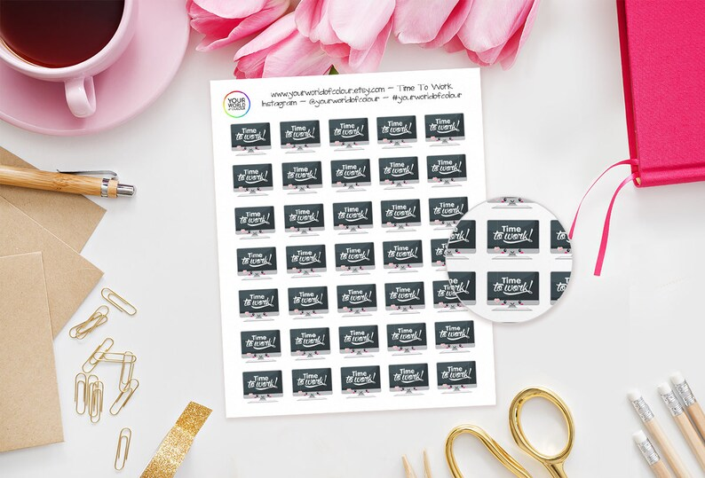 Time To Work Planner Stickers For Erin Condren Happy image 0