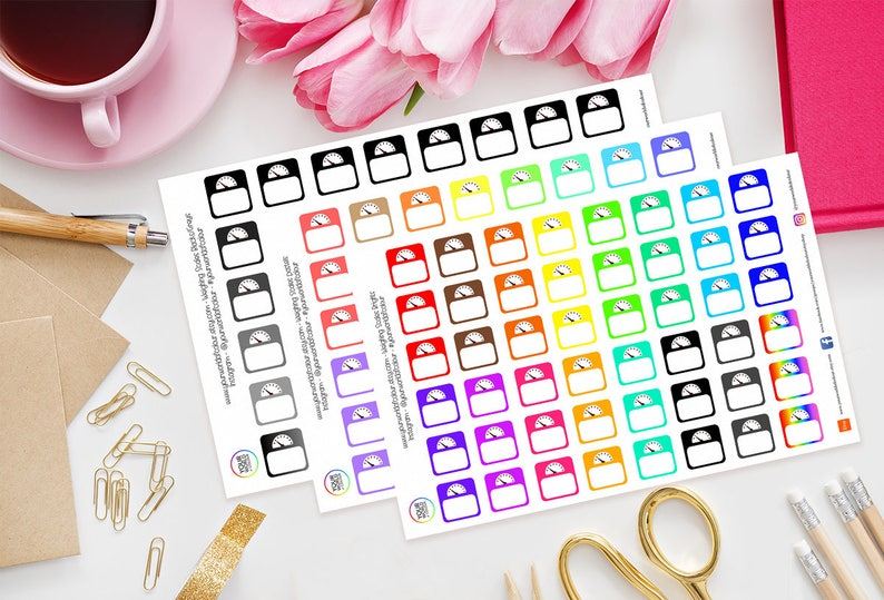 Rainbow Scales Weighing Scales Planner Stickers  for Erin image 0
