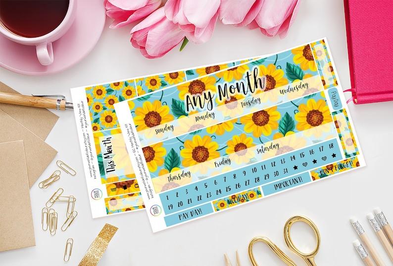 Sunflower Erin Condren Monthly View Planner Sticker Kit Any image 0