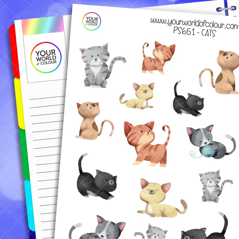 Cat Planner Stickers perfect for Erin Condren Life Planner image 0