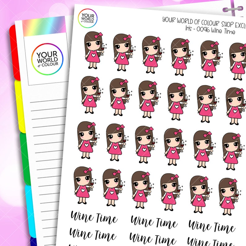 Wine Time Planner Stickers for Erin Condren Life Planner image 0