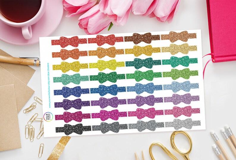 Glitter Bow Divider Planner Stickers for Erin Condren Life image 0