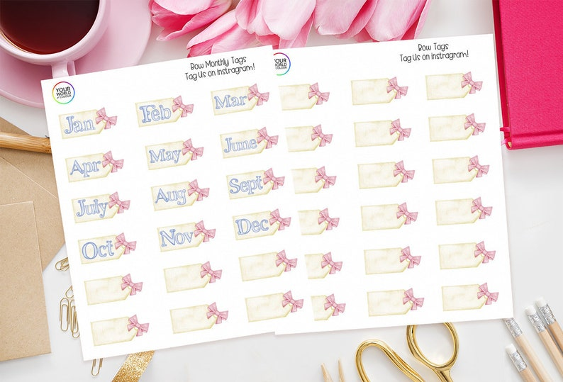 Bow Month Tag Planner Stickers for use with Erin Condren Life image 0