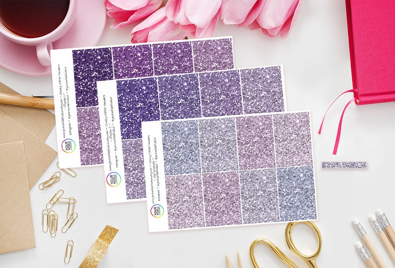 64 Chunky Glitter Headers Functional Planner Stickers Purple image 0