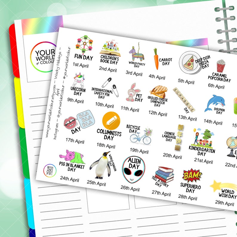 April Wacky Holidays Planner Stickers 2020 for Erin Condren image 0