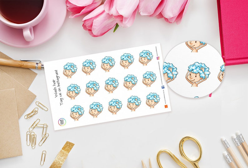 Wash Hair Planner Stickers  perfect for Erin Condren Kikki image 0