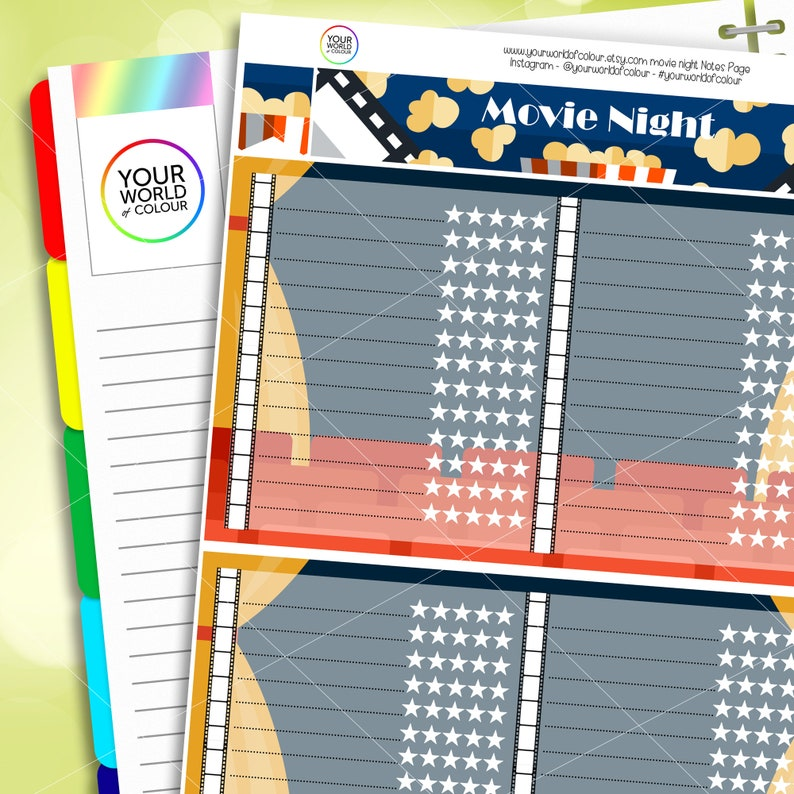 Planner Notes Sticker Kit Movie Notes Page Kit Sized for image 0