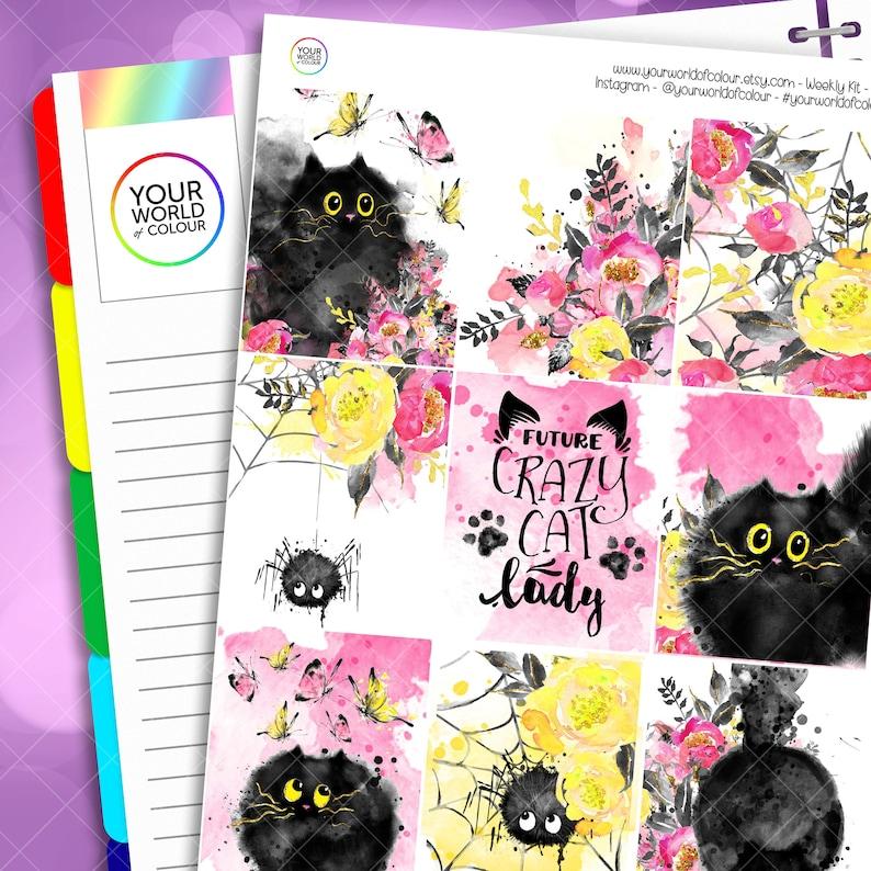 Cat Planner Sticker Kit for use with Erin Condren LifePlanner™ image 0