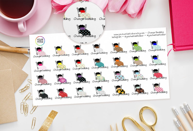 Change Bedding / Housework Planner Stickers  perfect for Erin image 0