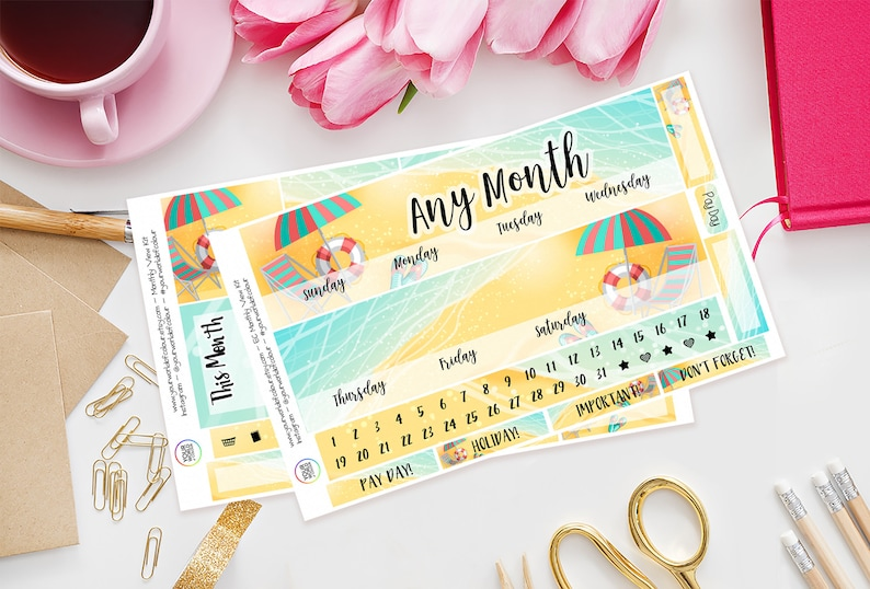 Beach Life Erin Condren Monthly View Planner Sticker Kit Any image 0