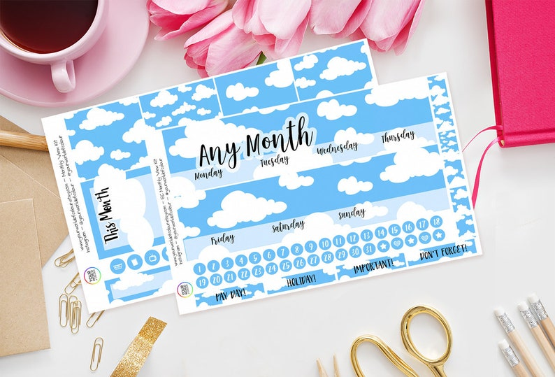 Clouds Monthly Planner Sticker Kit for Erin Condren Planners image 0