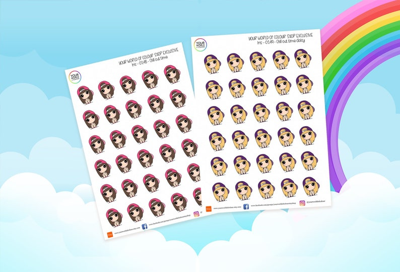 Chill Time Planner Stickers for use with Erin Condren Happy image 0