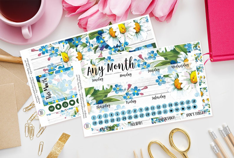 Spring Daisy Monthly Planner Sticker Kit for Erin Condren image 0