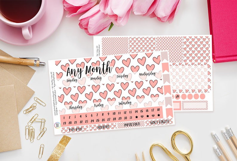Pink Hearts Erin Condren Monthly Planner Sticker Kit Any image 0