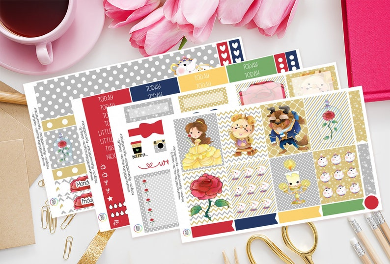 Tale As Old As Time Planner Sticker Kit for use with Erin 4 Sheet Kit
