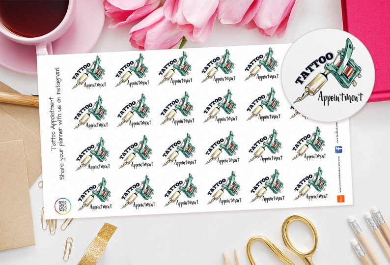 Tattoo Appointment Planner Stickers For Erin Condren Happy image 0
